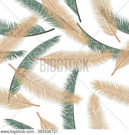 Summer Palm Tree Foliage Vector Seamless Ornament. Boho Graphic Design. Exotic Rainforest Palm Tree