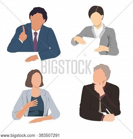 Vector Set Of Business People Sitting At The Office Desk. Listening, Talking, Writing, And Reading B