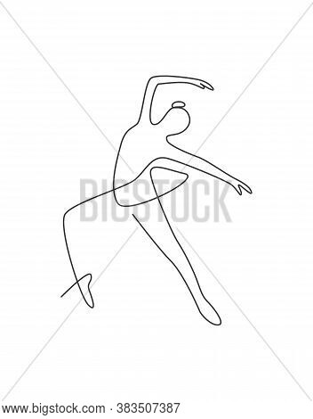 One Single Line Drawing Sexy Woman Beauty Ballerina Vector Illustration. Pretty Ballet Dancer Shows