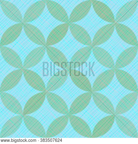 Interlacing Circles Parts Retro Seamless Vector Pattern. Guatrefoil Flower Blue Tessellation Endless