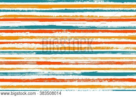 Pain Handdrawn Straight Lines Vector Seamless Pattern. Artistic Maritime Shirt Textile Design. Grain