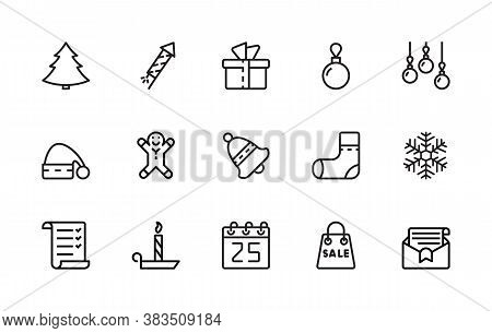 A Simple Set Of New Year And Christmas Related Vector Linear Icons. Contains Icons Such As: Tree, Sp
