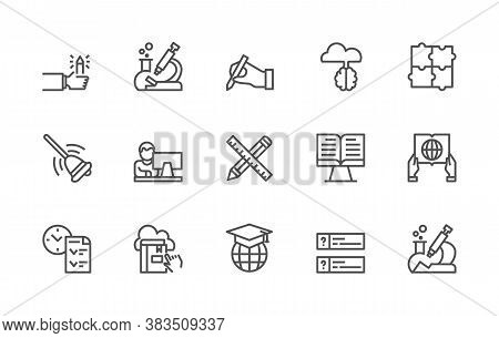 A Simple Set Of Online Education And Remote Education Related Vector Linear Icons. Contains Icons Su