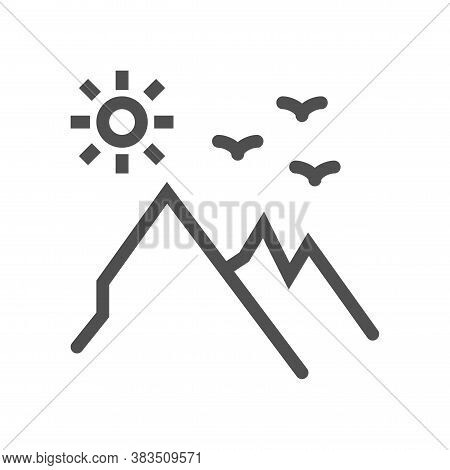 Mountains And Sun Line Icon. Linear Style Sign For Mobile Concept And Web Design. Mountain Landscape