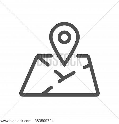 Mark On The Map Icon. Location Mark On Printed Map Sign. Linear Style. Flat Design Element. Editable