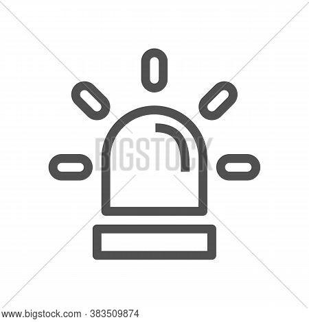 Police Single Icon. Alarm Power Button. Police Call Button.linear Style Icon. Flat Design Element. E