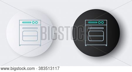 Line Oven Icon Isolated On Grey Background. Stove Gas Oven Sign. Colorful Outline Concept. Vector