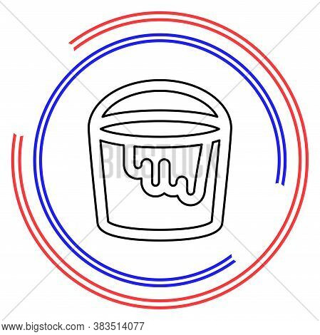 Vector Painting Bucket Illustration Isolated, Painting Work, Painting Sign And Symbol. Thin Line Pic