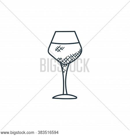 wine glass icon isolated on white background from food hand drawn collection. wine glass icon trendy
