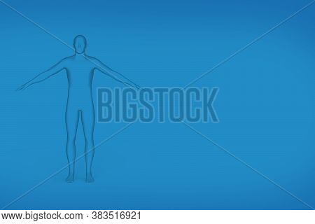 Silhouette Of A Standing Man With Outstretched Arms - Black And White Graphic On A Blue Gradient Bac