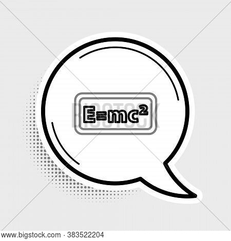Line Math System Of Equation Solution Icon Isolated On Grey Background. E Equals Mc Squared Equation
