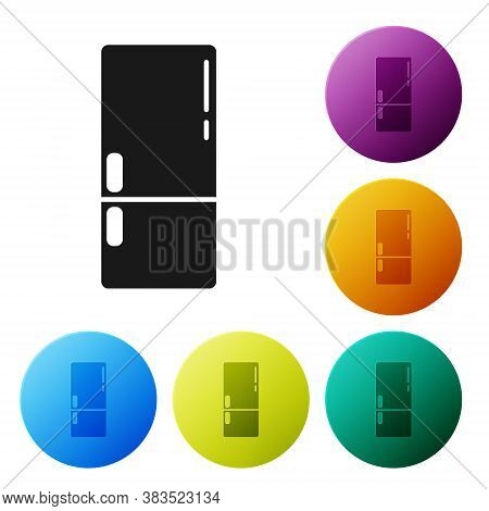 Black Refrigerator Icon Isolated On White Background. Fridge Freezer Refrigerator. Household Tech An