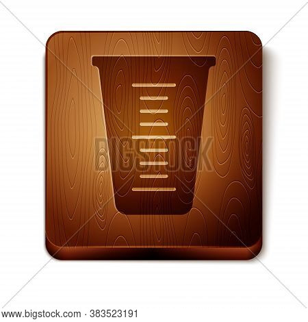 Brown Measuring Cup To Measure Dry And Liquid Food Icon Isolated On White Background. Plastic Gradua
