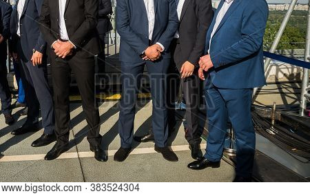 Bodyguards Team In Business Suits. Guard Service. Bodyguard Man With Earphone And Black Eyeglasses A