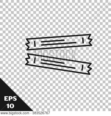 Black Line Sugar Stick Packets Icon Isolated On Transparent Background. Blank Individual Package For