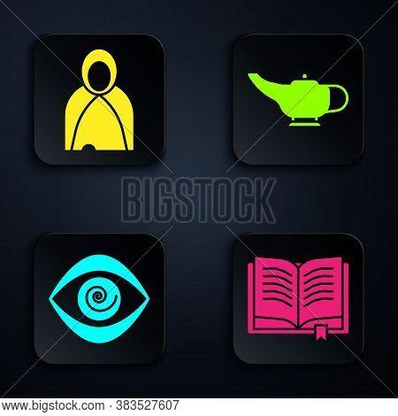 Set Ancient Magic Book, Mantle, Cloak, Cape, Hypnosis And Magic Lamp Or Aladdin. Black Square Button