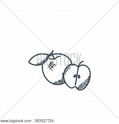 apple icon isolated on white background from food hand drawn collection. apple icon trendy and moder