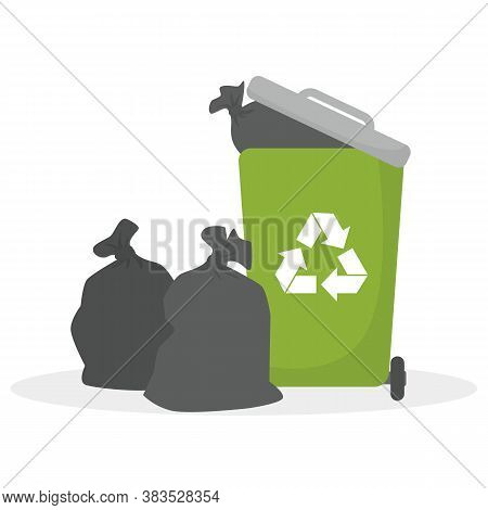 Garbage Bin. Ecology And Recycle Concept. Vector Illustration.