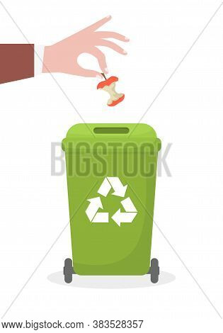 The Hand Throws The Garbage Into The Container. Ecology And Recycle Concept. Vector Illustration.