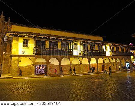 Cusco / Peru - 06 May 2011: The Vintage Building On Plaza De Armas, Cusco, Peru