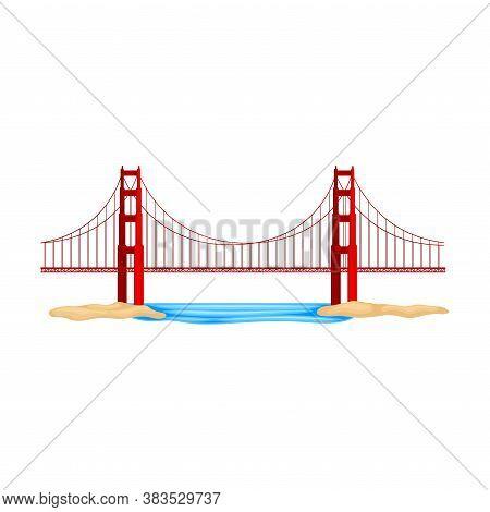 Golden Gate Bridge As Suspension Bridge In California Vector Illustration