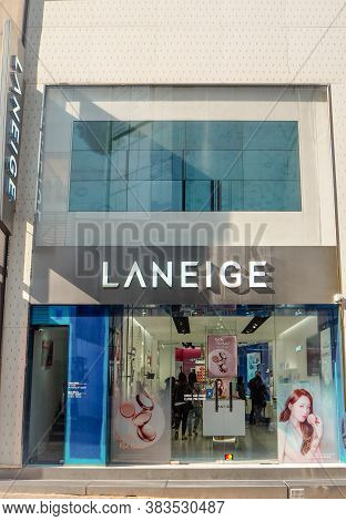 March 2019 - Seoul, South Korea: Store Of The South Korean Luxury Skincare Brand Laneige, Owned By A