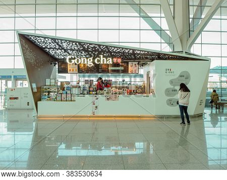 March 2019 - South Korea: Store Front Of A Taiwanese Gong Cha Bubble Tea Franchise Shop At The Inche