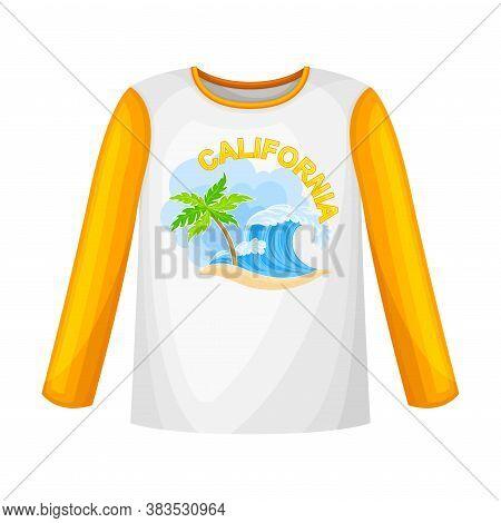 Long Sleeved Shirt With California Shore Print Vector Illustration