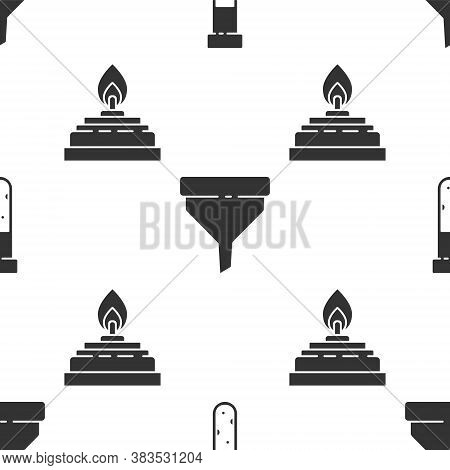 Set Test Tube And Flask Chemical, Funnel Or Filter And Alcohol Or Spirit Burner On Seamless Pattern.