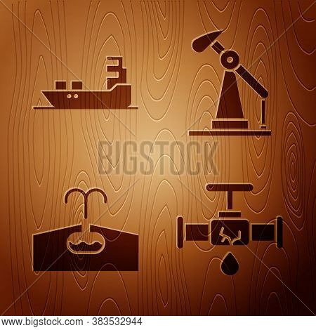 Set Broken Pipe With Leaking Water, Oil Tanker Ship, Oilfield And Oil Pump Or Pump Jack On Wooden Ba