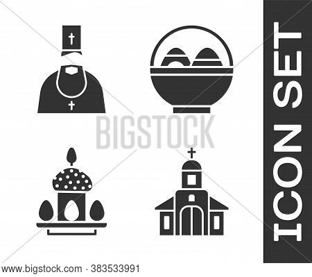 Set Church Building, Priest, Easter Cake And Eggs And Basket With Easter Eggs Icon. Vector