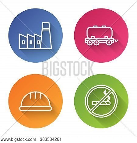 Set Line Oil Industrial Factory Building, Oil Railway Cistern, Worker Safety Helmet And No Smoking.