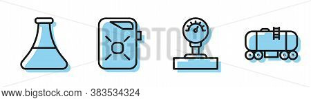 Set Line Gauge Scale, Oil Petrol Test Tube, Canister For Motor Oil And Oil Railway Cistern Icon. Vec