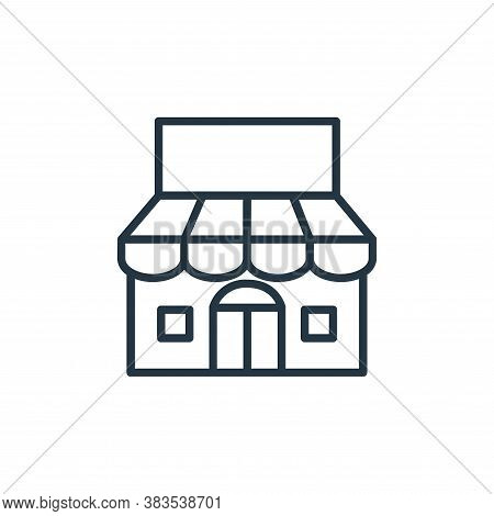 shop icon isolated on white background from building collection. shop icon trendy and modern shop sy