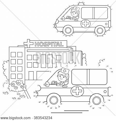 Numbers Game. Ambulance Car. Coloring Page Outline Of Cartoon Doctor With Ambulance Car Near The Hos