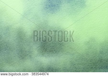 Abstract Art Background Light Green And Cyan Colors. Watercolor Painting On Canvas With Soft Aquamar