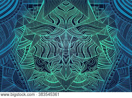 Vintage Psychedelic Tryppi Colorful Geometric Fractal Pattern. Gradient Outline Cyan, Turquoise, Dar
