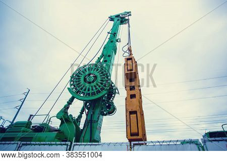 Pile Crane. Construction Cranes. Large Construction Cranes. Drilling Machines Ready To Drill Piles O