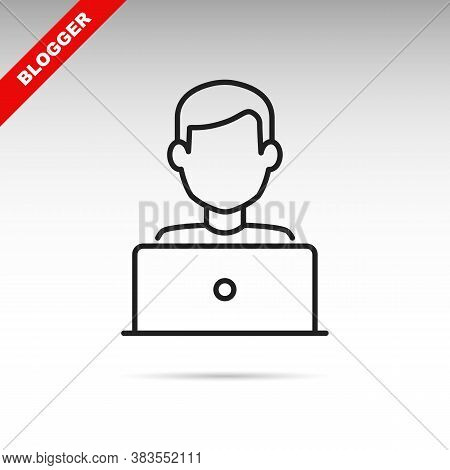 Blogger Or User With Laptop Computer On Remote Work From Home Office Line Vector Icon. Editable Stro