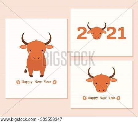 Set Of 2021 Chinese New Year Cards With Cute Oxen, Hoof Prints, Typography. Vector Illustration. Fla
