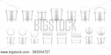 White Bucket Mockups For Ice Cream, Yogurt, Cheese, Mayonnaise, Butter Or Paint