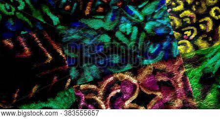 Dirty Decorative Print. Black Graffitis On Walls. Vivid Creative Dirty Background. Tie Die Texture V