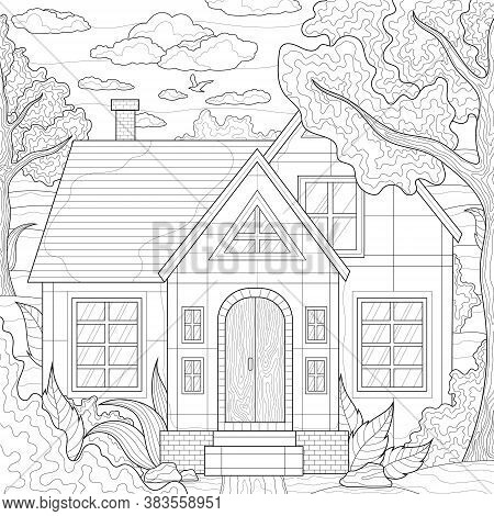 House Among The Trees And Plants. Nature.coloring Book Antistress For Children And Adults. Illustrat