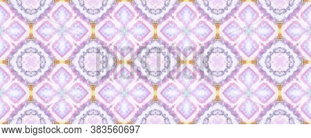 Geometric Rug Pattern. Pastel Blue And Violet Seamless Texture. Seamless Tie Dye Ornament. Ikat Asia