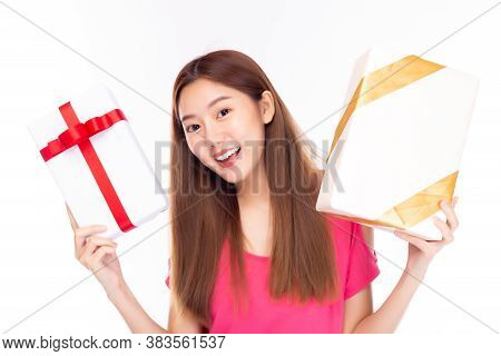 Asian Young Woman Holding Gift Box With Smile Face. Pretty Girl Get Birthday Gift, New Year Gift Or