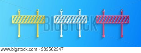 Paper Cut Road Barrier Icon Isolated On Blue Background. Fence Of Building Or Repair Works. Hurdle I