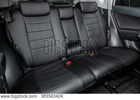 Novosibirsk, Russia - August  07, 2020 : Toyota Rav-4, Comfort Car Inside. Clean Car Interior: Black