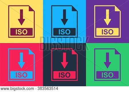 Pop Art Iso File Document Icon. Download Iso Button Icon Isolated On Color Background. Vector