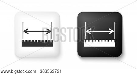 Black And White The Measuring Height And Length Icon Isolated On White Background. Ruler, Straighted