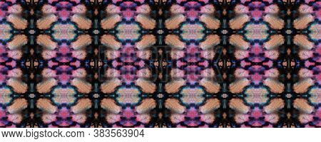 Aztec Rugs. Abstract Ikat Design. Seamless Tie Dye Illustration. Ikat Russia Motif. Black And Pink S